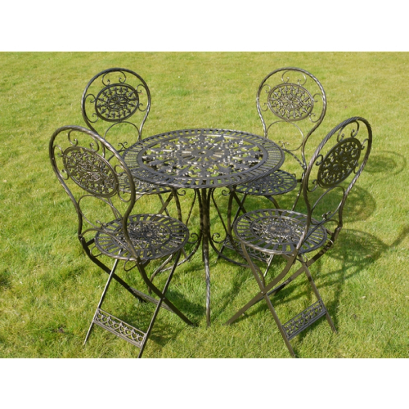 Black and Gold Table and Four Chairs Bistro Set