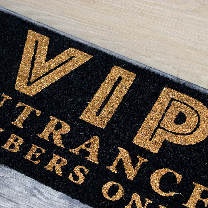 Black and Gold VIP Coir Door Mat