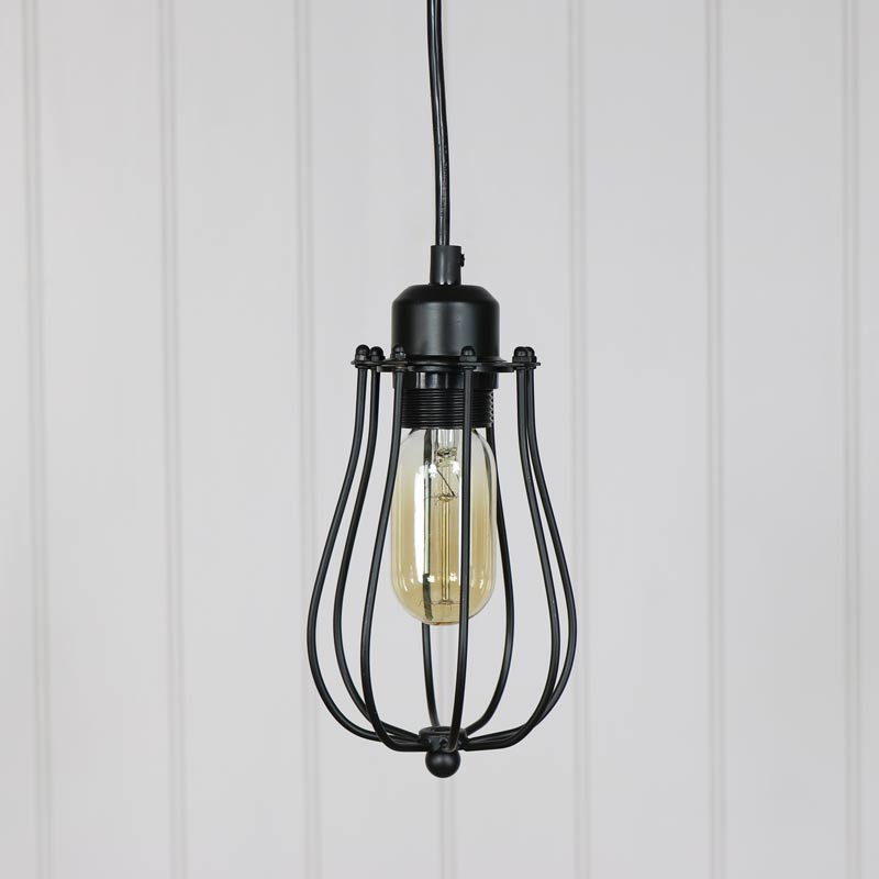 black caged metal wire pendant light melody maison