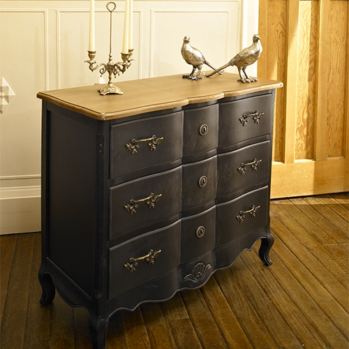 Black 3 drawer chest of drawers antique gothic bedroom for Black bathroom drawers