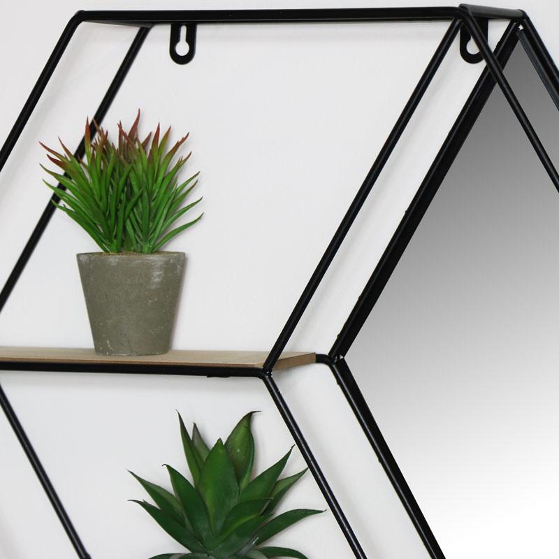 Black Hexagon Wall Shelf - Diamond Mirror