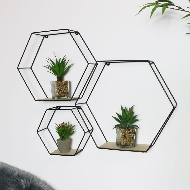 Black Hexagon Wall Shelves