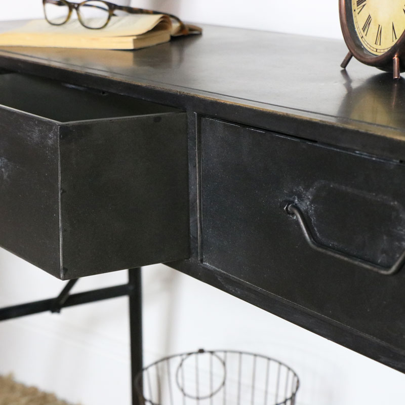 Black Industrial Style Desk / Console Table