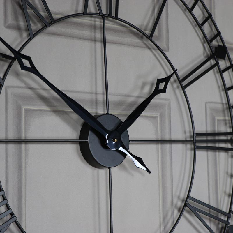 Large Black Iron Skeleton Wall Clock