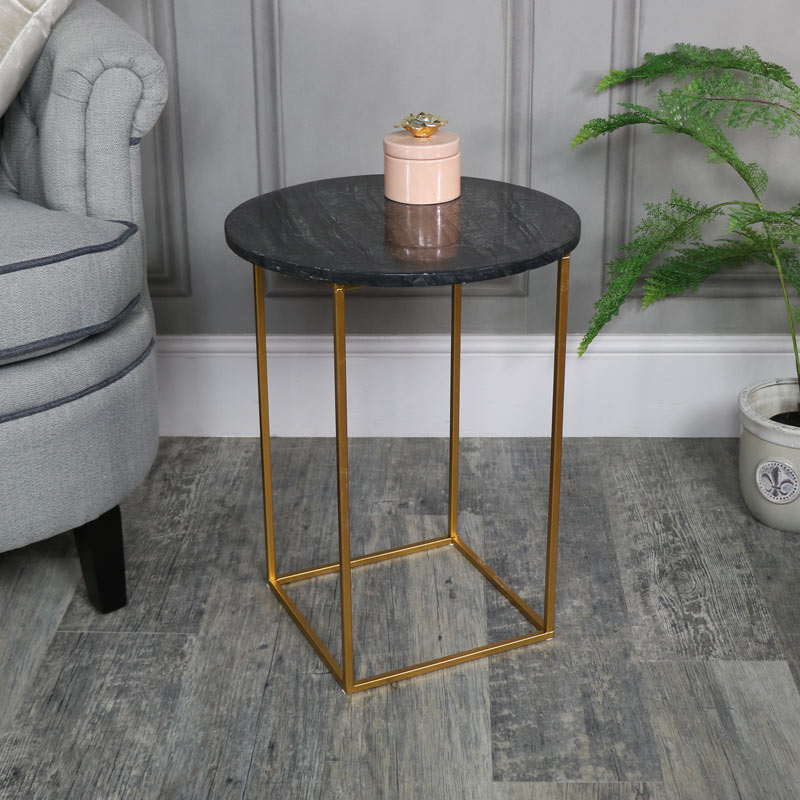 Black Marble Topped Side Table
