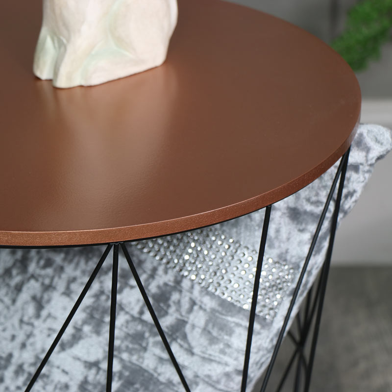 Black Metal Copper Top Side Table