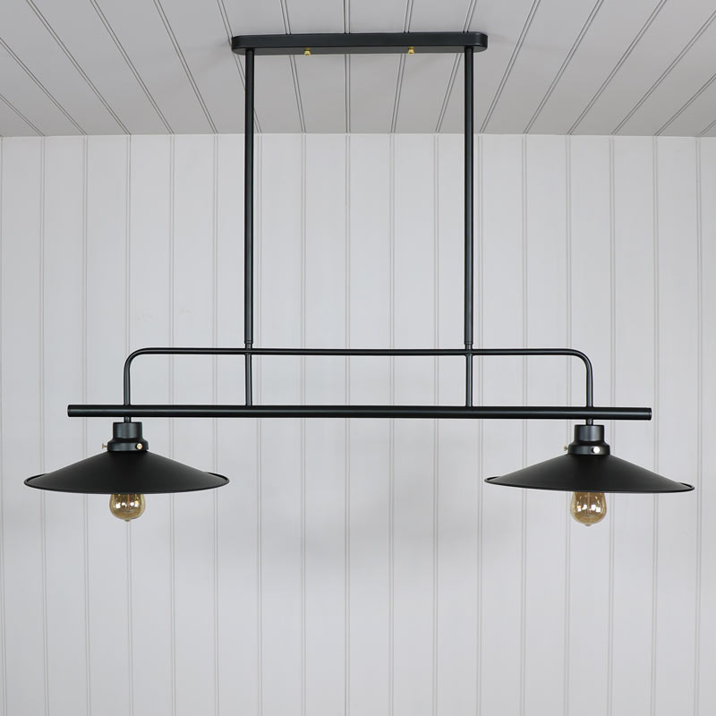 black metal double ceiling light melody maison. Black Bedroom Furniture Sets. Home Design Ideas