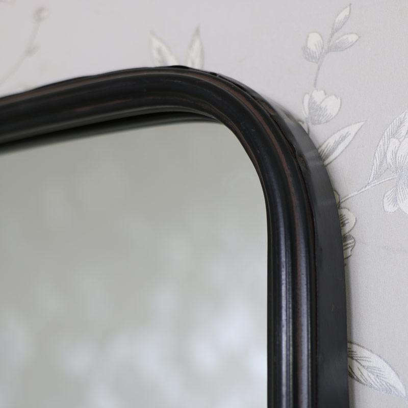 Black Metal Industrial Vanity Wall Mirror with Shelf 49.5cm x 69.5cm