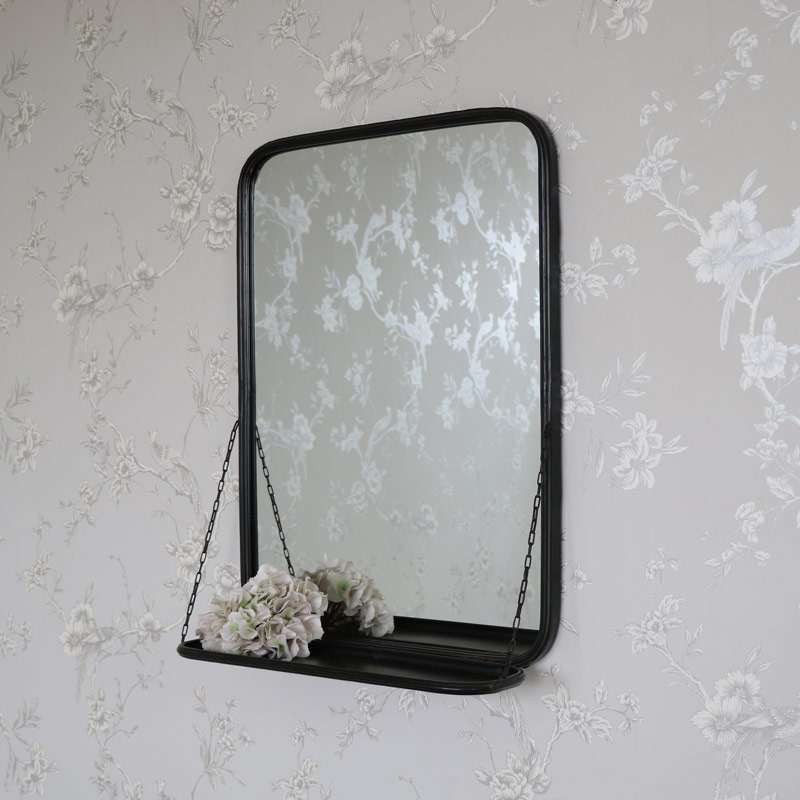 Black Metal Industrial Vanity Wall Mirror With Shelf