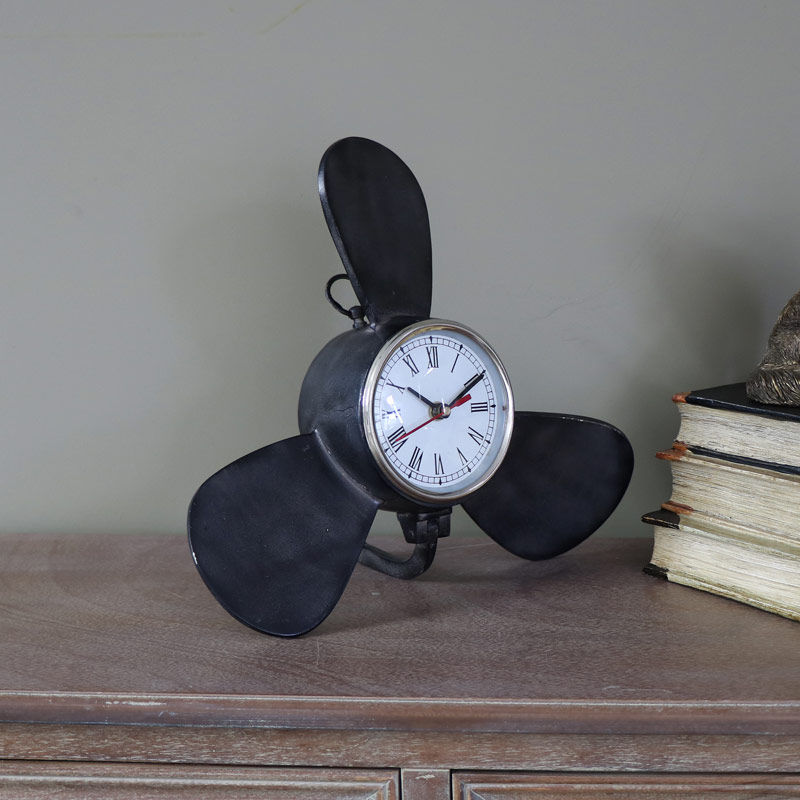 Black Metal Propellor Desk/Mantel Clock