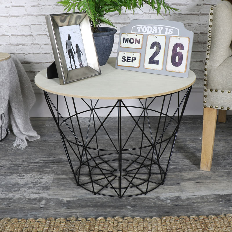 Black Metal Wire Basket Wooden Top Side Table Melody Maison