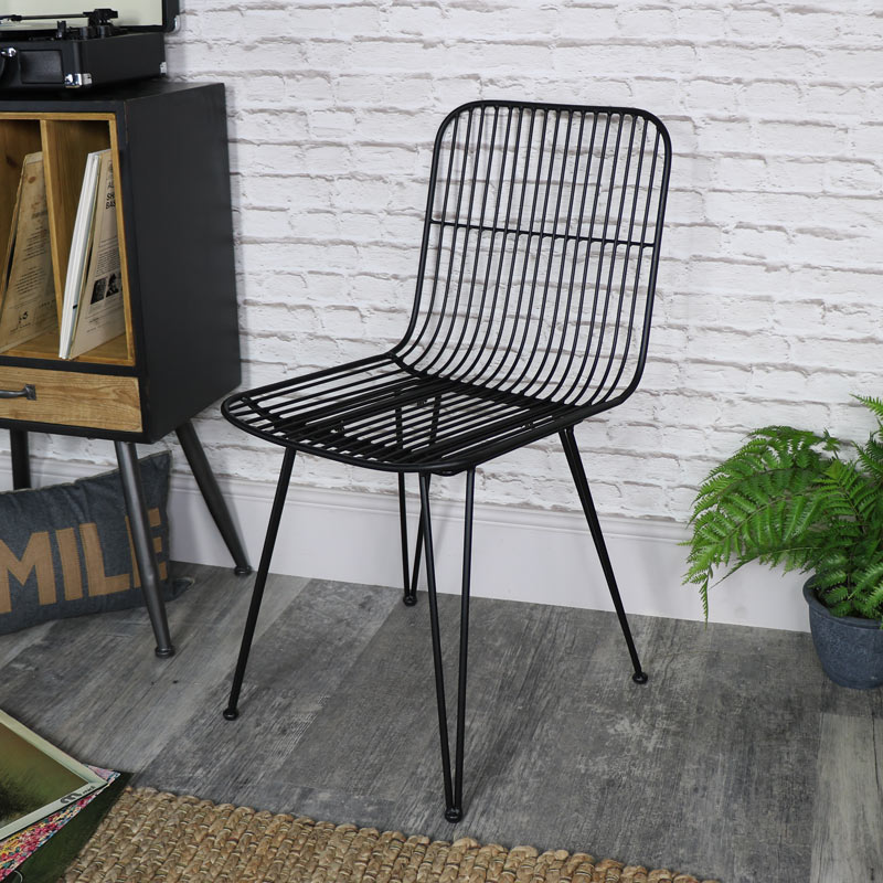 Black Metal Wire Midas Chair Melody Maison 174
