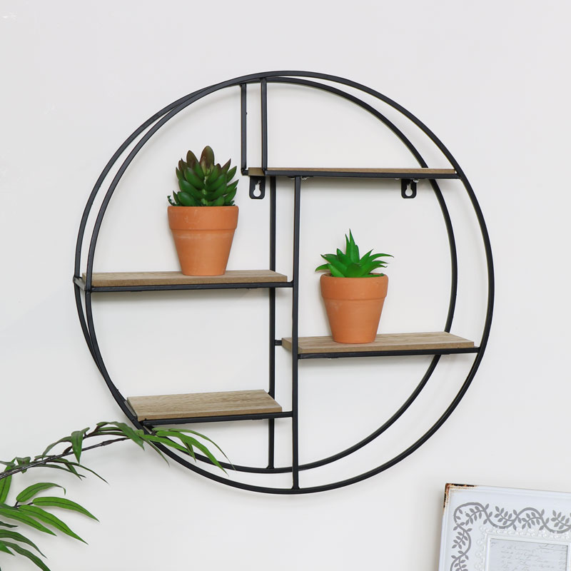 Black Metal Wood Round Wall Shelf