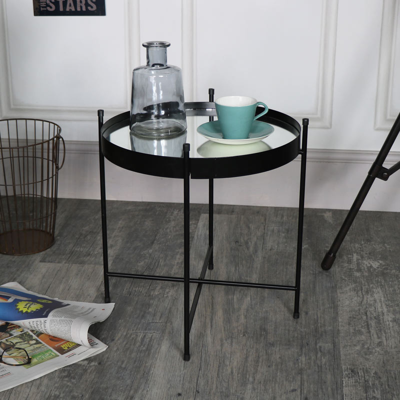 Small Black Mirrored Display Tray Table