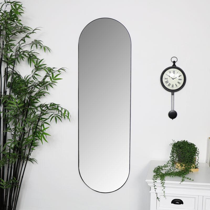 Black Oval Wall Mirror 40cm X 140cm, Full Length Oval Wall Mirror