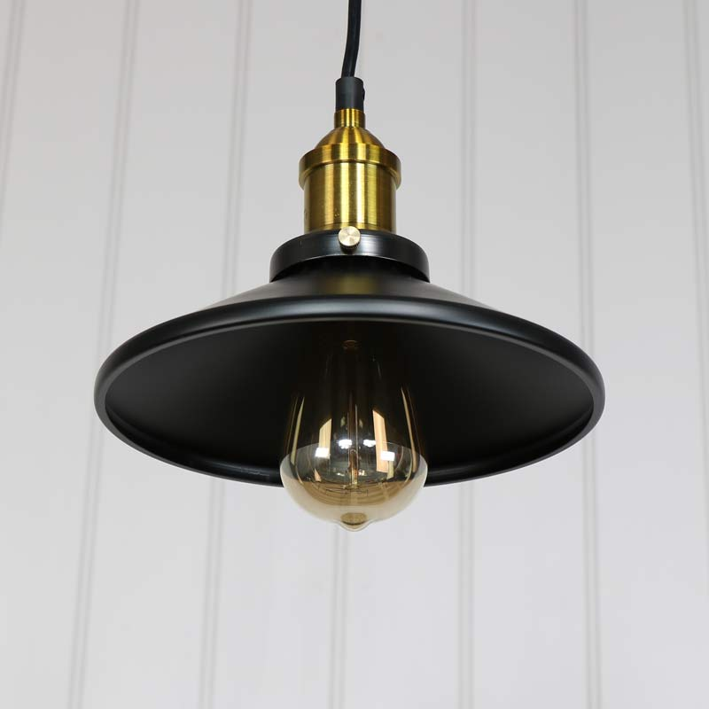 black metal pendant light fitting industrial style lighting living room bedroom 5055630969789 ebay. Black Bedroom Furniture Sets. Home Design Ideas