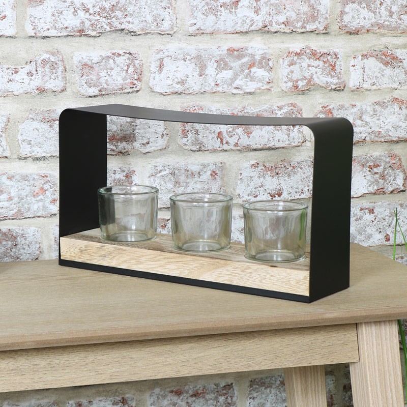 Black Tealight Candle Holder - Triple