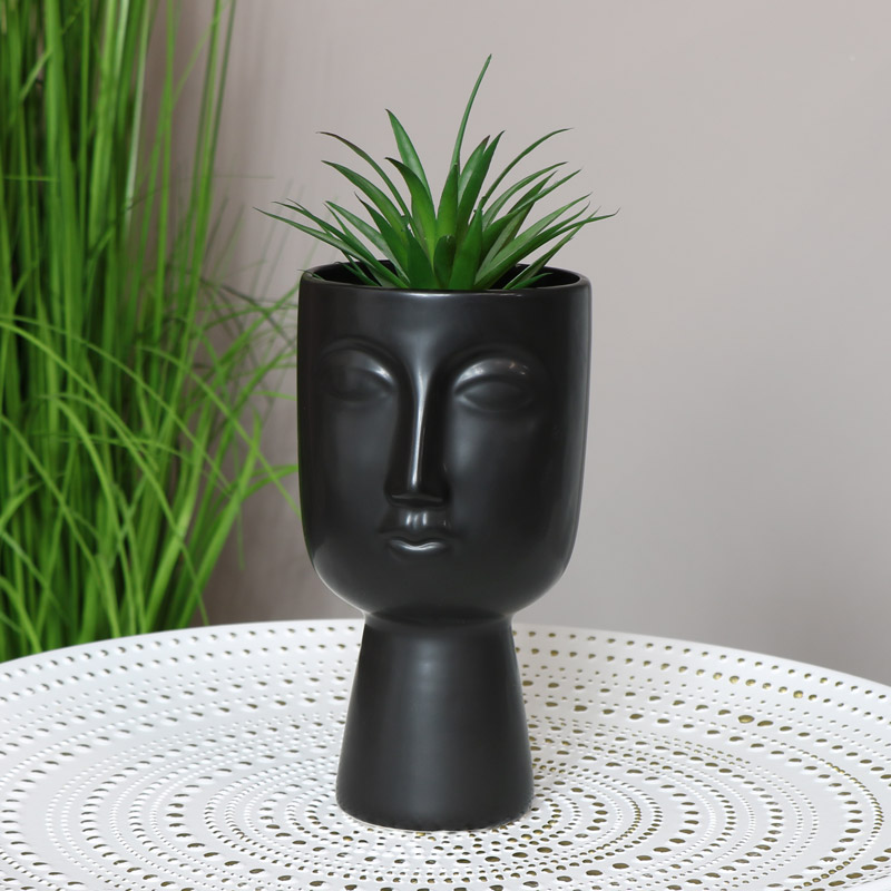 Black Vase with Face Detail