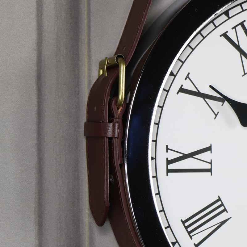 Polished Silver Wall Clock with Belt Strap Hanger
