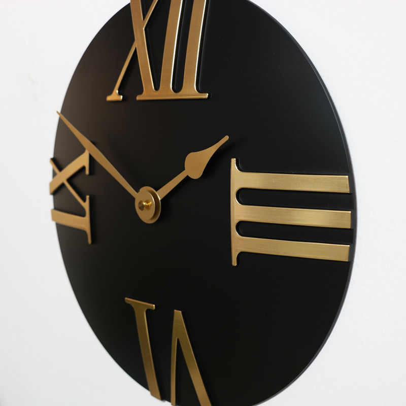 Black Wall Clock with Roman Numerals