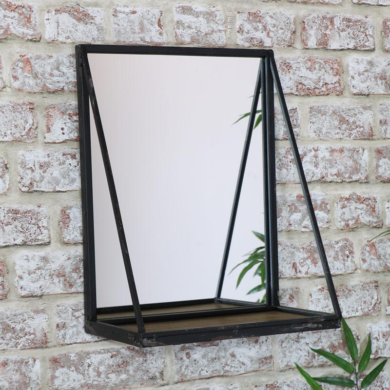 Black Wall Mirror With Shelf 29cm X 38cm Melody Maison 174
