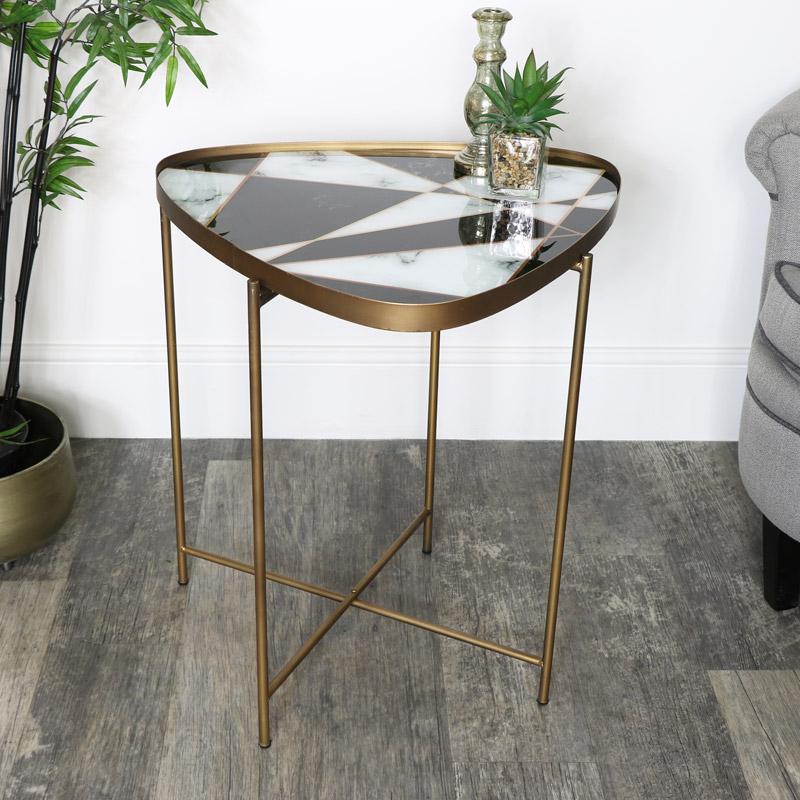 Black & White Gold Side Table