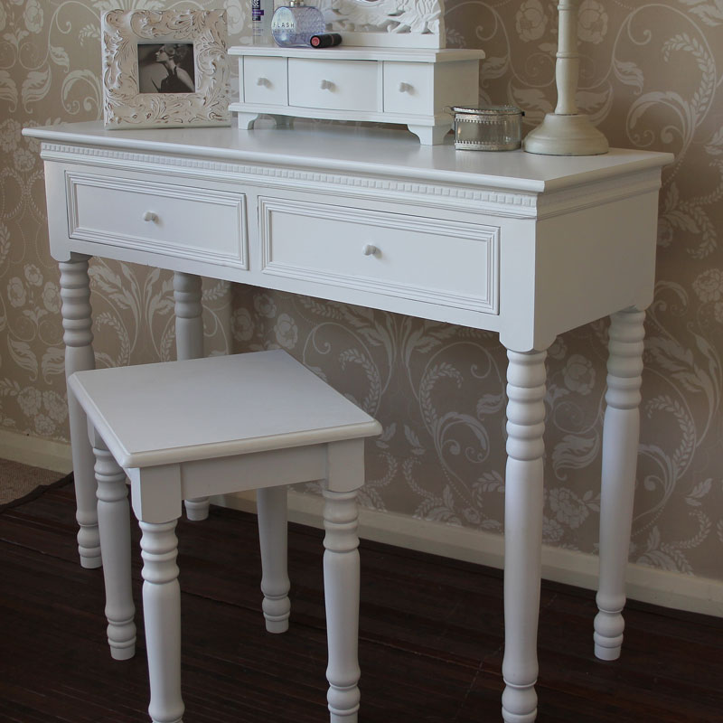 Blanch Range - White Dressing Table with Mirror and Stool