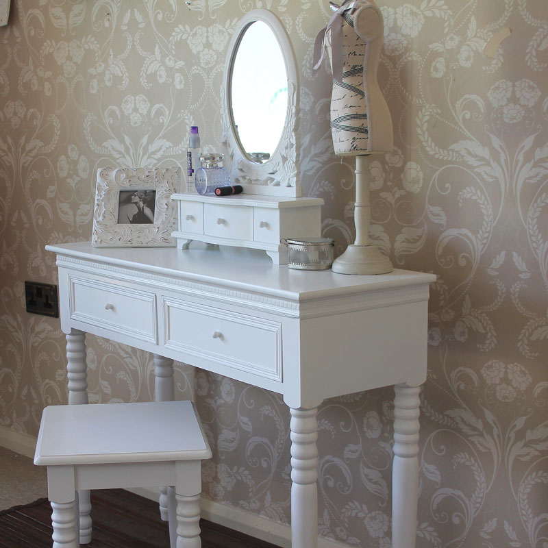 White Dressing Table with Mirror and Stool   Blanche Range