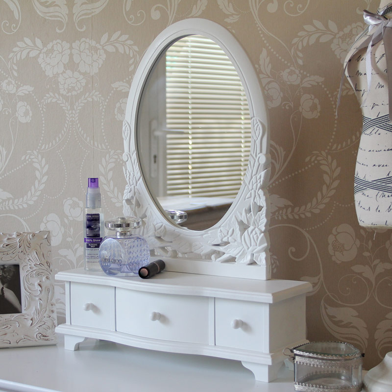 White Dressing Table Mirror With Drawers Melody Maison