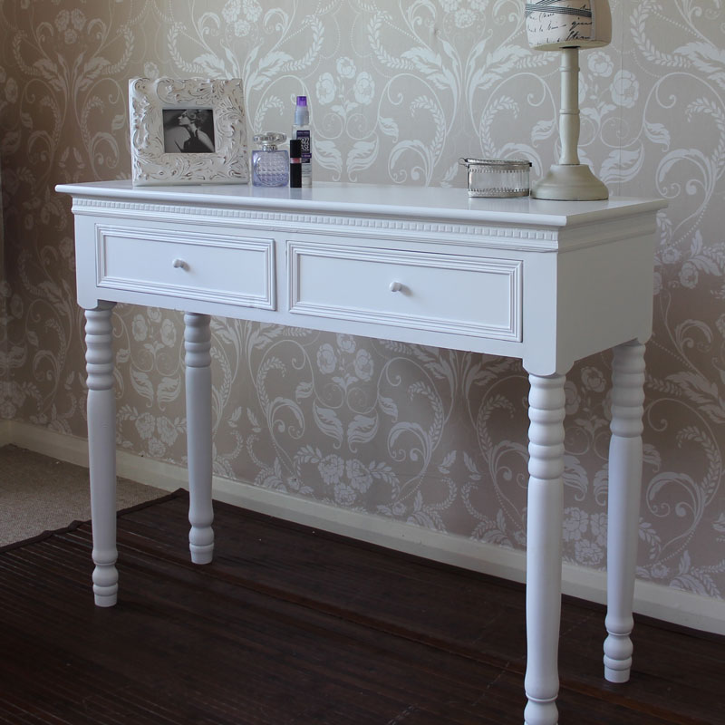 White Dressing Table With Drawers   Blanche Range