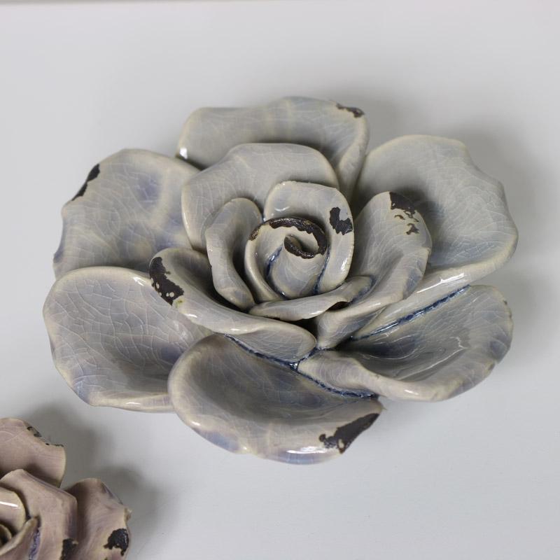 Blue Ceramic Flower Ornament
