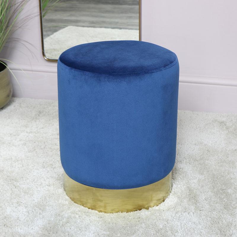 Blue Velvet Stool with Gold Base