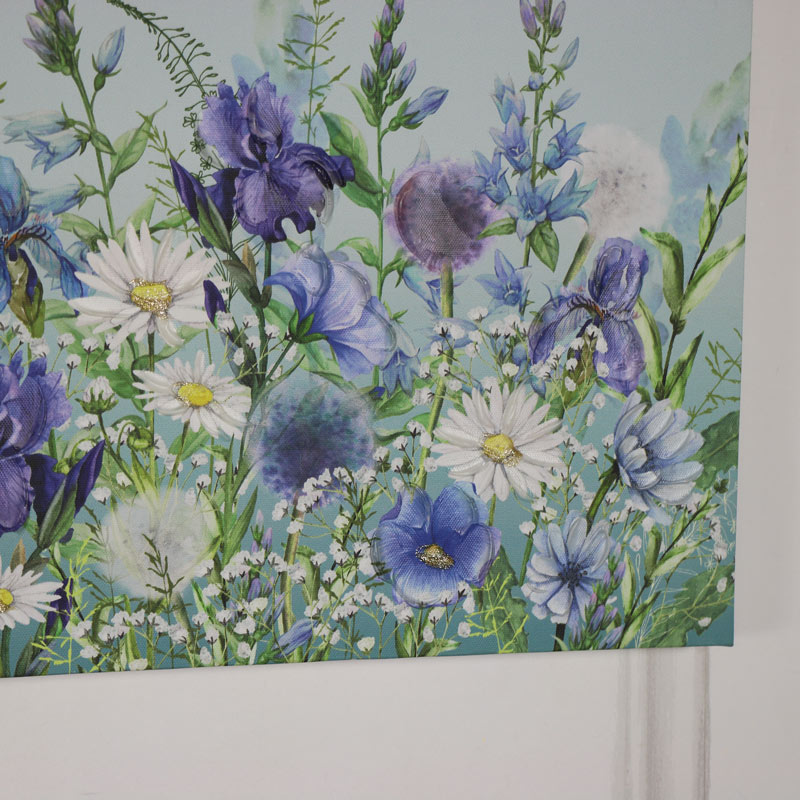 Blue Wildflowers Wall Mounted Canvas Print