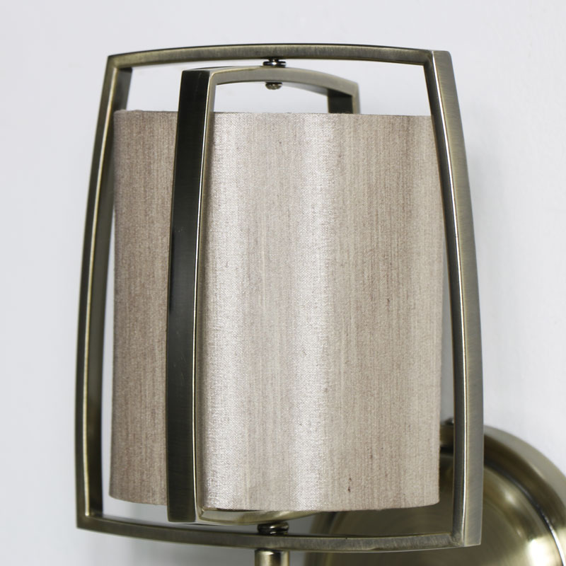 Brass Metal Wall Light & Champagne Shade
