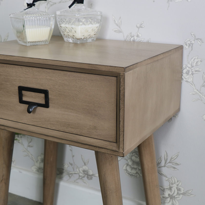 Brixham Range - Wooden 1 Drawer Bedside Table