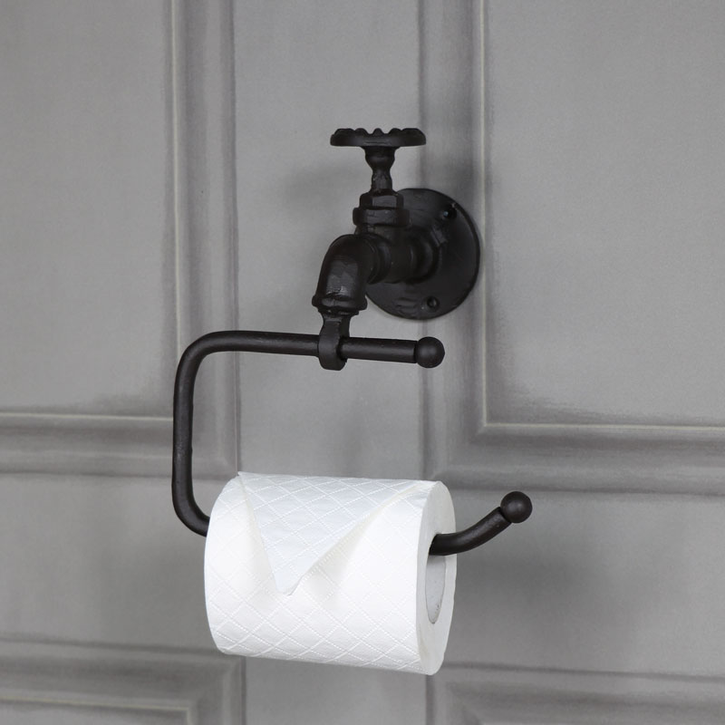 Rustic Metal Toilet Roll Tissue Holder Retro Industrial Bathroom