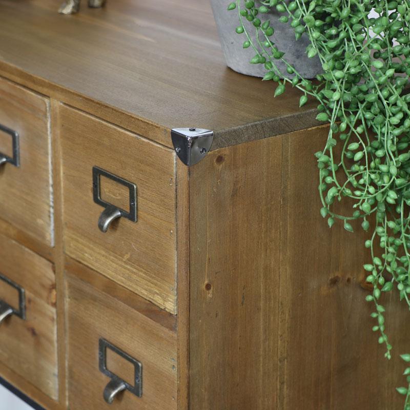 Brown Wooden 8 Drawer Sideboard Storage Unit