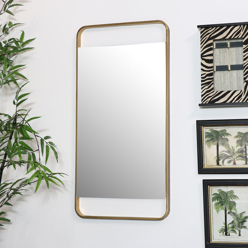 Brushed Gold Wall Mirror Rectangle 38cm X 76cm Melody Maison