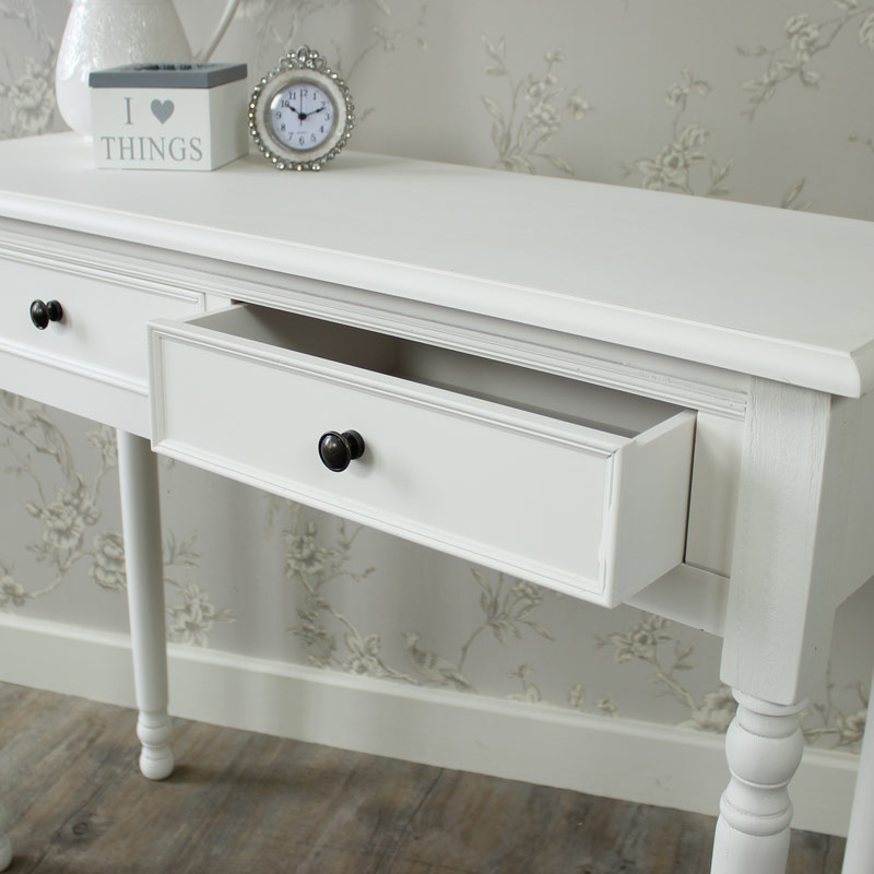White Two Drawer Dressing Table / Console Table