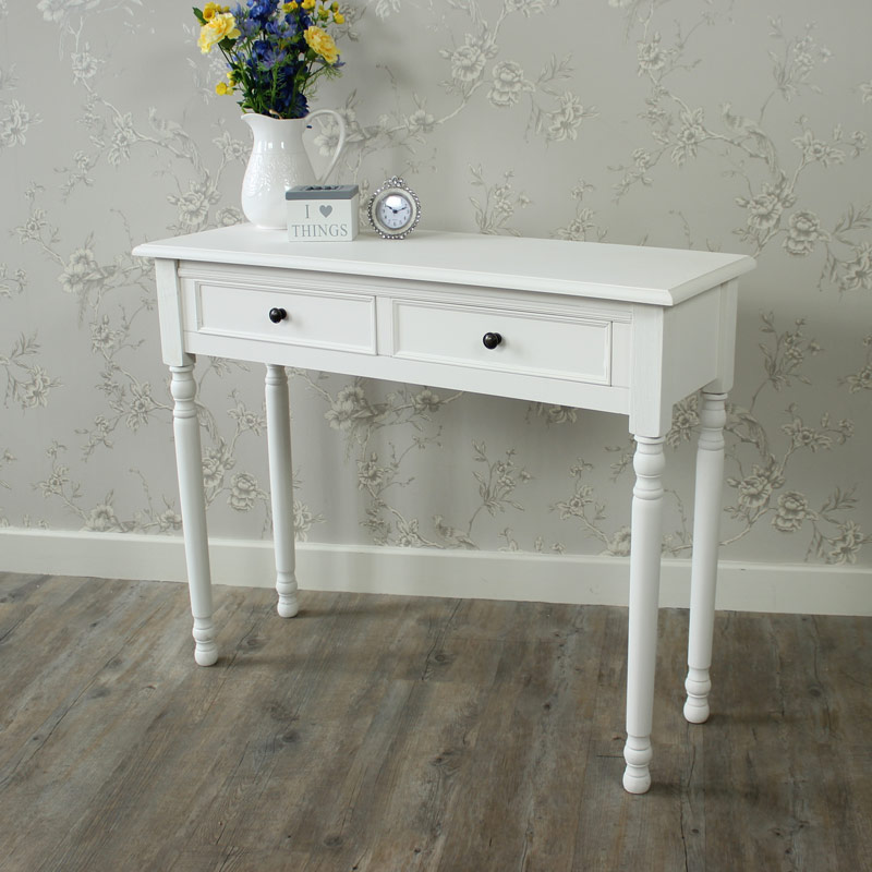 White two drawer dressing table console table Camille Range