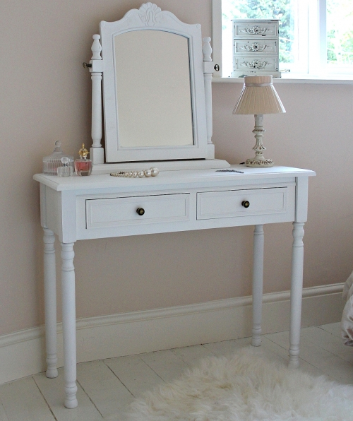 Girls Dressing Table ~ Camille range white two drawer dressing table and mirror