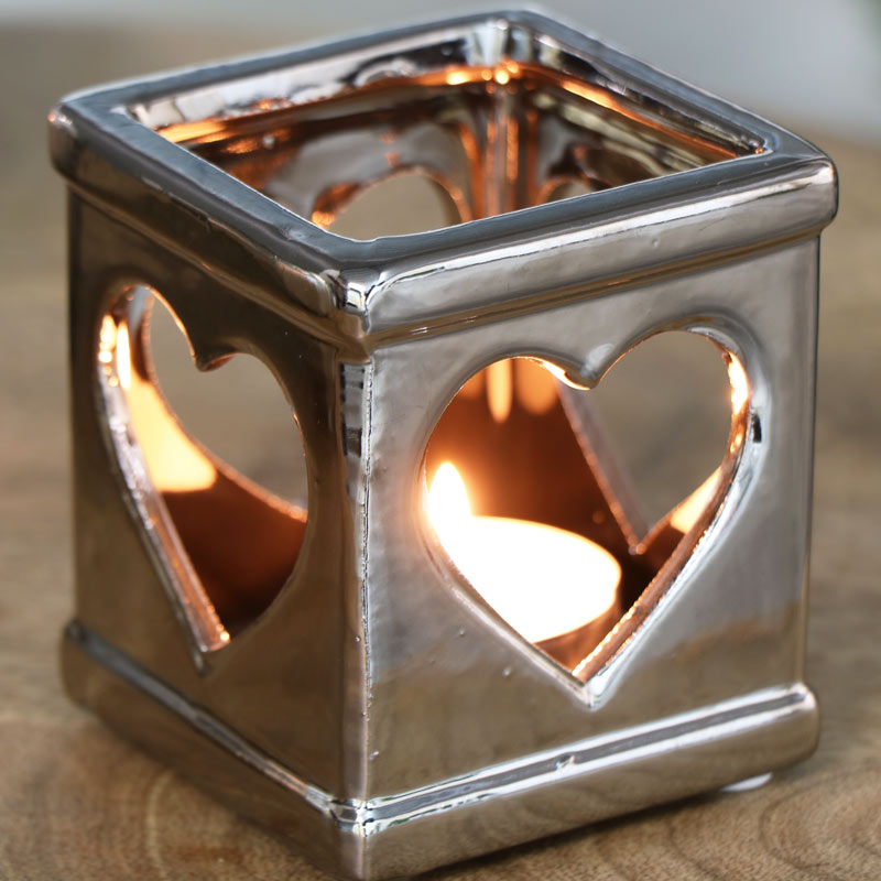Ceramic Silver Tealight Candle Holder