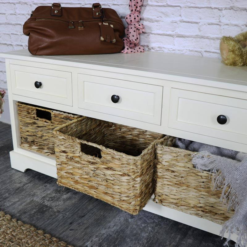 Château Range - Ivory Wicker Storage Bench