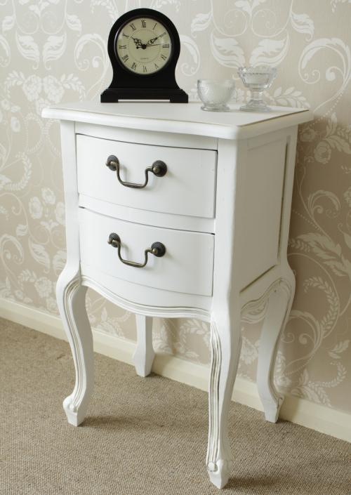 White Bedside Table French Style Chic Bedroom Drawers Furniture Shabby Vintage Ebay
