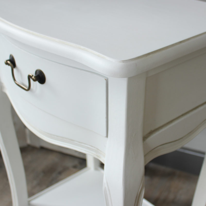 Classic White Range - Bedside Table with Shelf