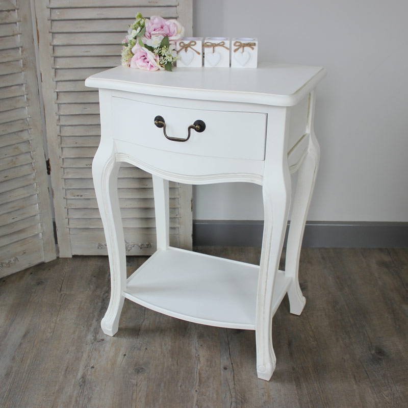 Classic White Bedside Table Melody Maison