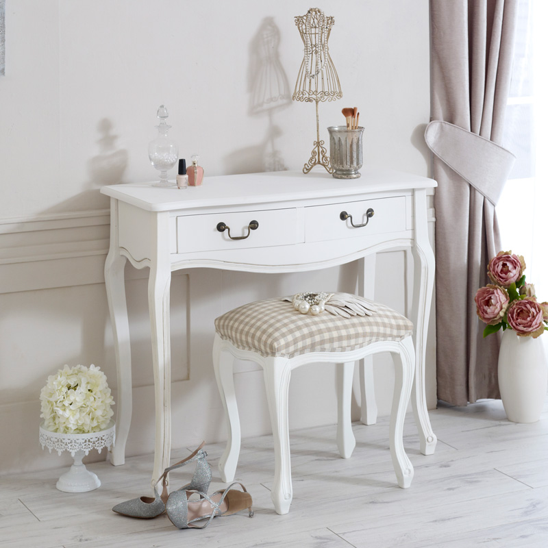 White wooden french style dressing table and padded stool for 90cm dressing table