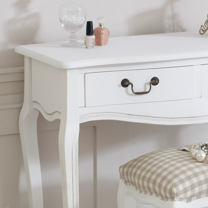 White wooden dressing table stool shabby french chic for 90cm dressing table