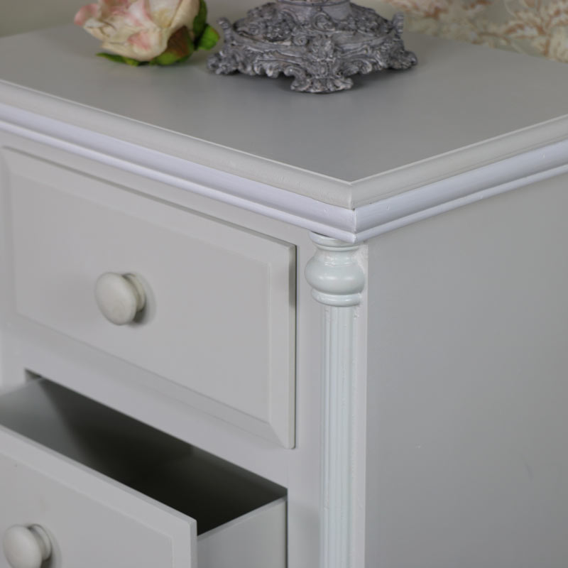 Light Grey Vintage Bedside Table set of 2 - Claudette Range