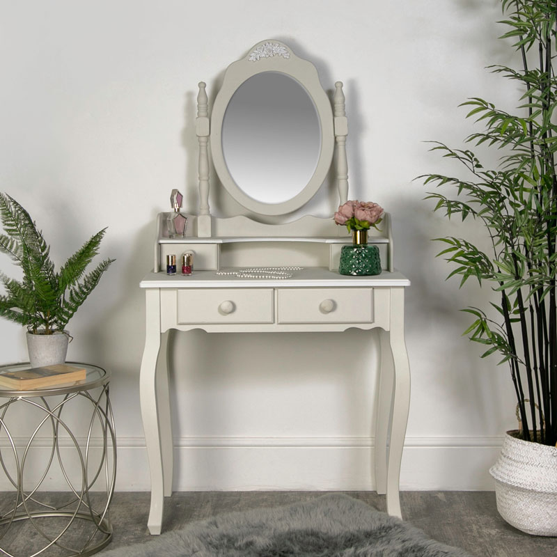 Grey Dressing Table with Tabletop Vanity Mirror - Claudette Range